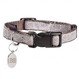 Collier pour chien Bobby Seigaiha taupe