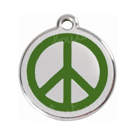 Médaille chien red dingo 2cm, peace and love vert