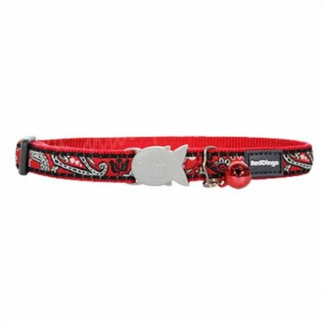 Collier Red Dingo rouge à motif bandana pour chat