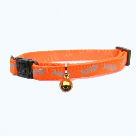 Collier Martin Sellier orange avec motif poisson pour chat