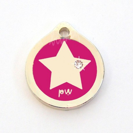 Médaille Chat Style Star Rose Vif 2cm avec Strass