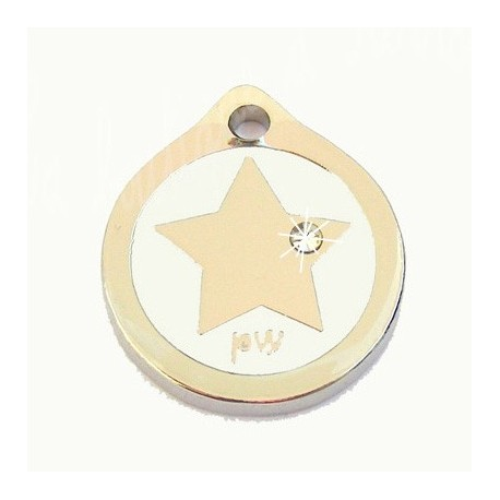 Médaille pour chien Style star blanche avec strass Taille moyenne 25mm