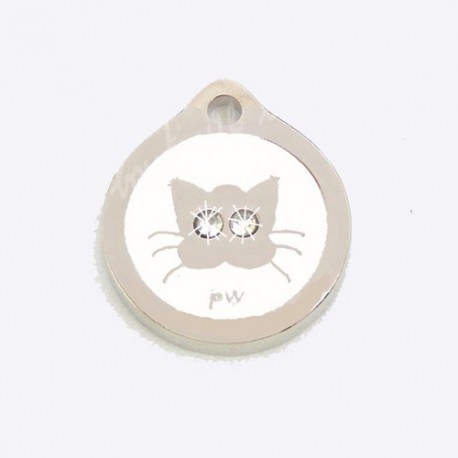 Médaille pour Chat Yeux Strass Blanc