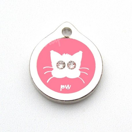 Médaille pour chat Yeux Strass Rose