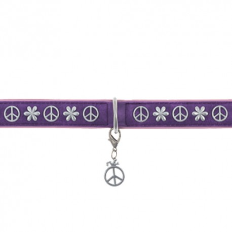 Collier chien Style Peace and Love Violet en cuir