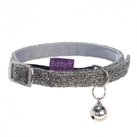 Collier pailleté gris pour chat Bobby Disco