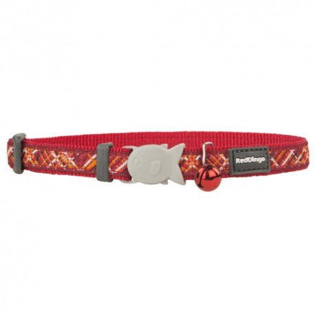 Collier rouge avec trait Red Dingo Flanno pour chat