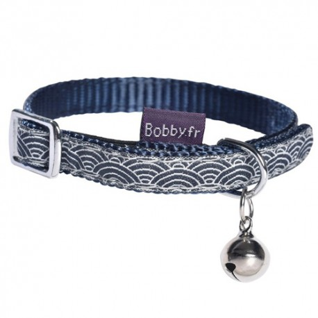 Collier Bobby Seigaiha bleu pour chat