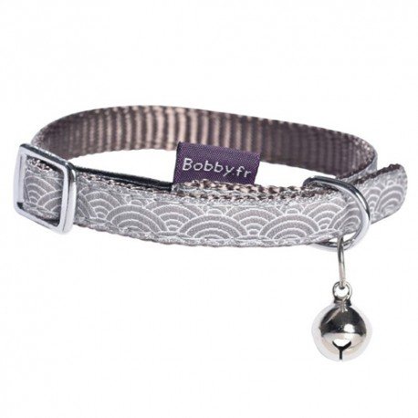 Collier Bobby Seigaiha taupe pour chat