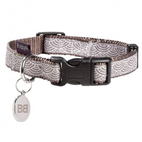 Collier Bobby seigaiha taupe pour chien