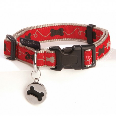 Collection collier Bobby kyrielle rouge pour chien