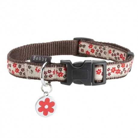 Collier Bobby flower rouge pour chien