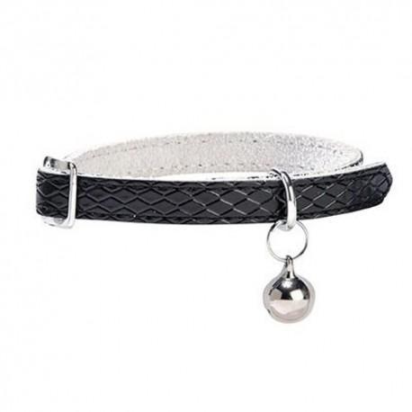 Collier cuir pour chat Bobby, Power noir