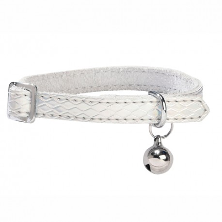 Collier cuir pour chat Bobby, Power argent
