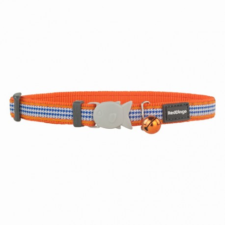 Collier pied-de-poule pour chat Red Dingo Fang It orange