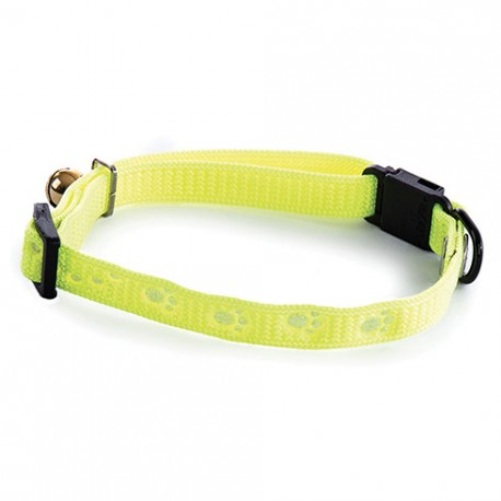Collier pour chat Martin Sellier Pattes Jaune Fluo